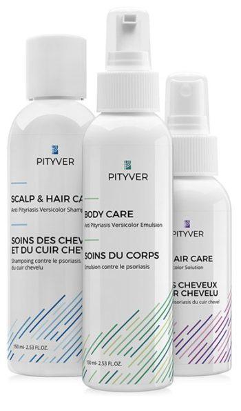 Zestaw do kuracji łupieżu pstrego Pityver - szampon, płyn, emulsja.